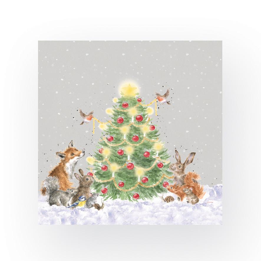 Wrendale Cocktailservietten weihnachtlich, Motiv Waldtiere sitzen um Weihnachtsbaum, Inhalt 20 Stück, 12,5 x12,5 cm