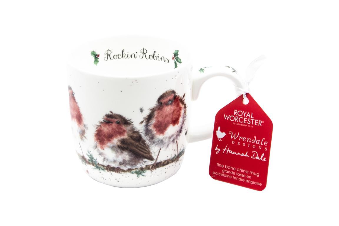 """Wrendale Becher Weihnachten """"Rockin Robins"""" Motiv Rotkehlchenfamilie auf Ast, 0,3 L, Spülmaschinenfest"""