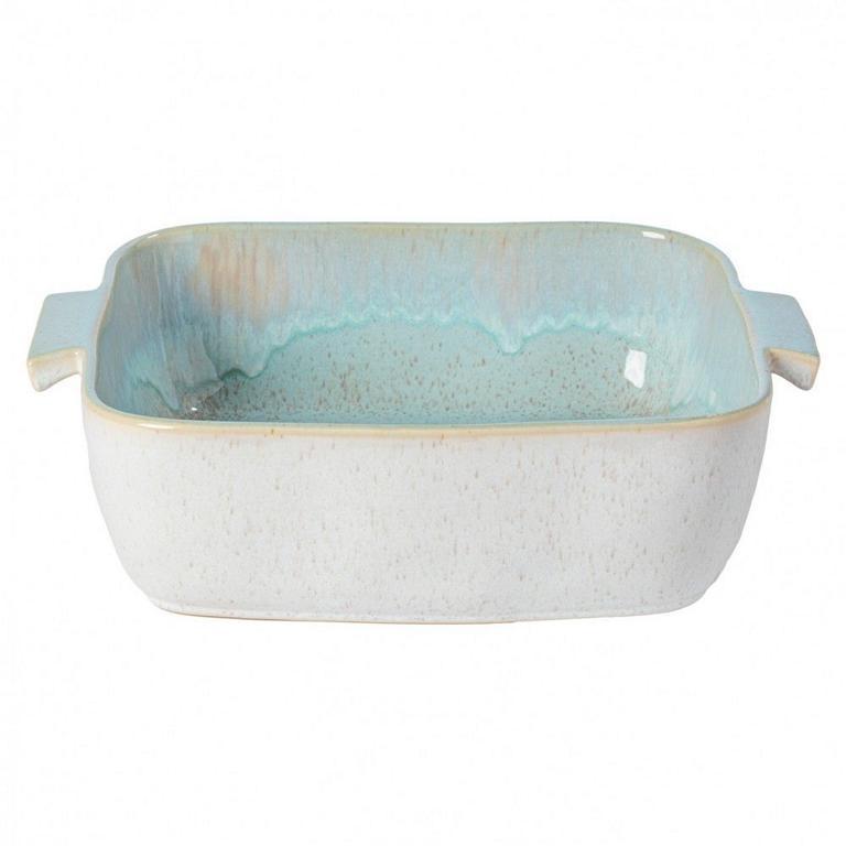 Casafina Eivissa Back/Auflaufform quadratisch, innen meerblau, außen beige, gesprenkelt, 32x27x9 cm