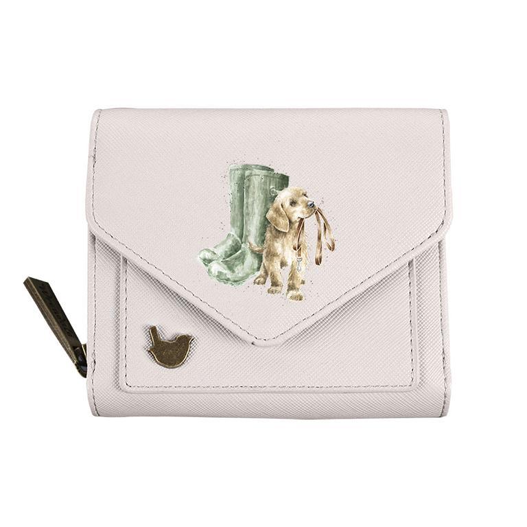 Wrendale Geldbörse klein, mit Druckknopf und Reißverschluss, Motiv Hund, grau, 11x9x3cm