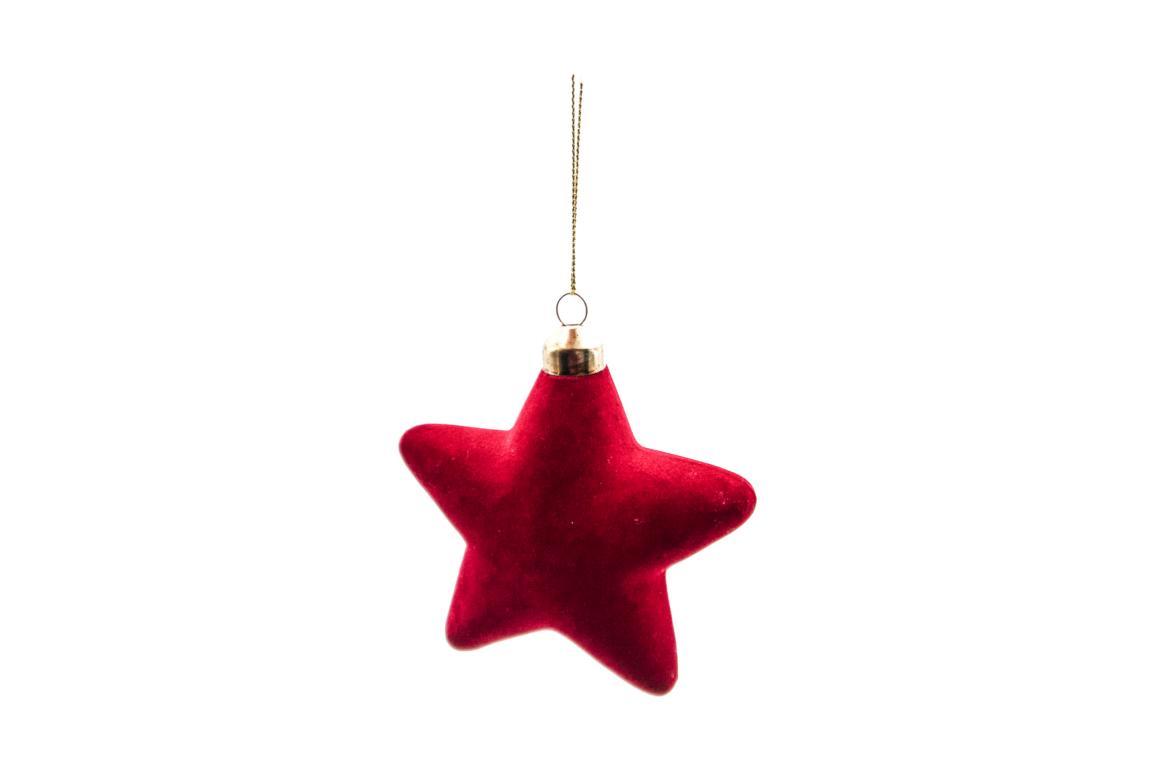 Colmore Christbaumanhänger Stern, aus Glas mit rotem Samt überzogen, 10cm