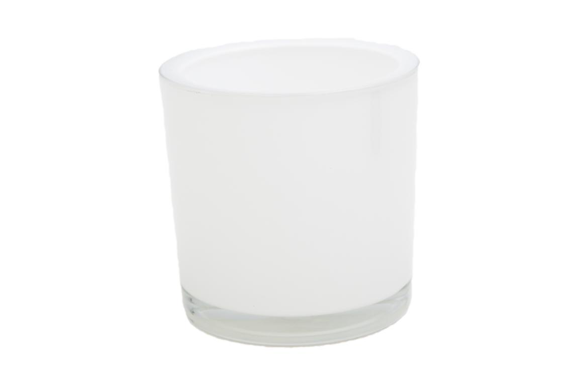 Blumenübertopf, Heavy, dickes Glas, weiß 10x10 cm