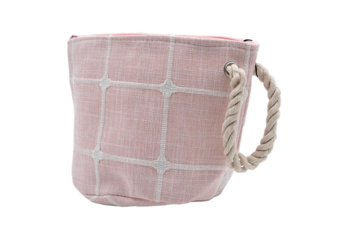 Kleine Kosmetiktasche, rosa mit Tragegriff und Reißverschluss
