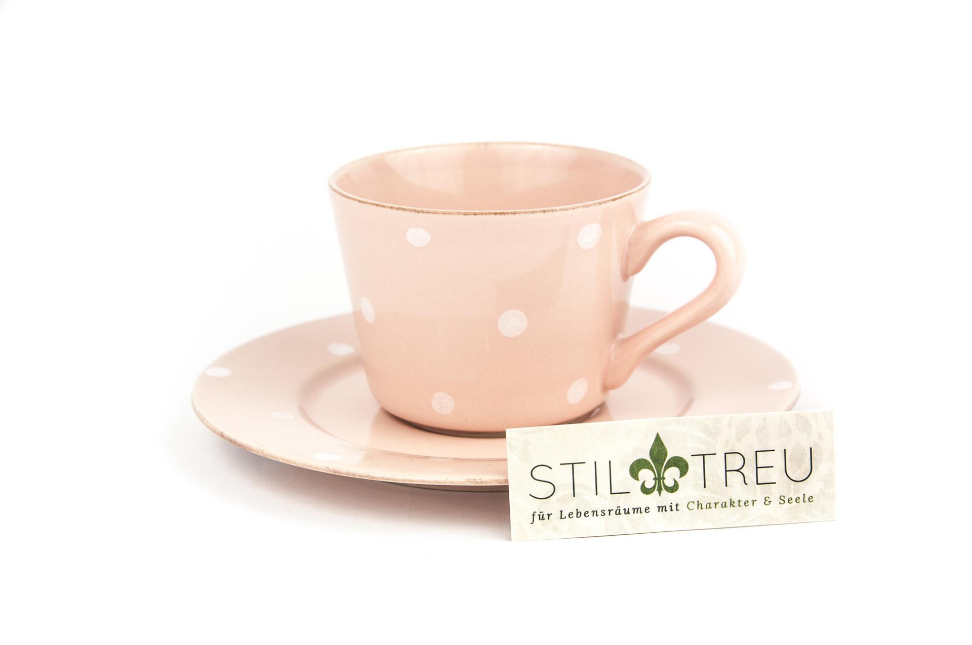 Gedeck / Kaffee / Tee 2-teilig / Ober- und Untertasse Chitra, rosa, 0,20 l