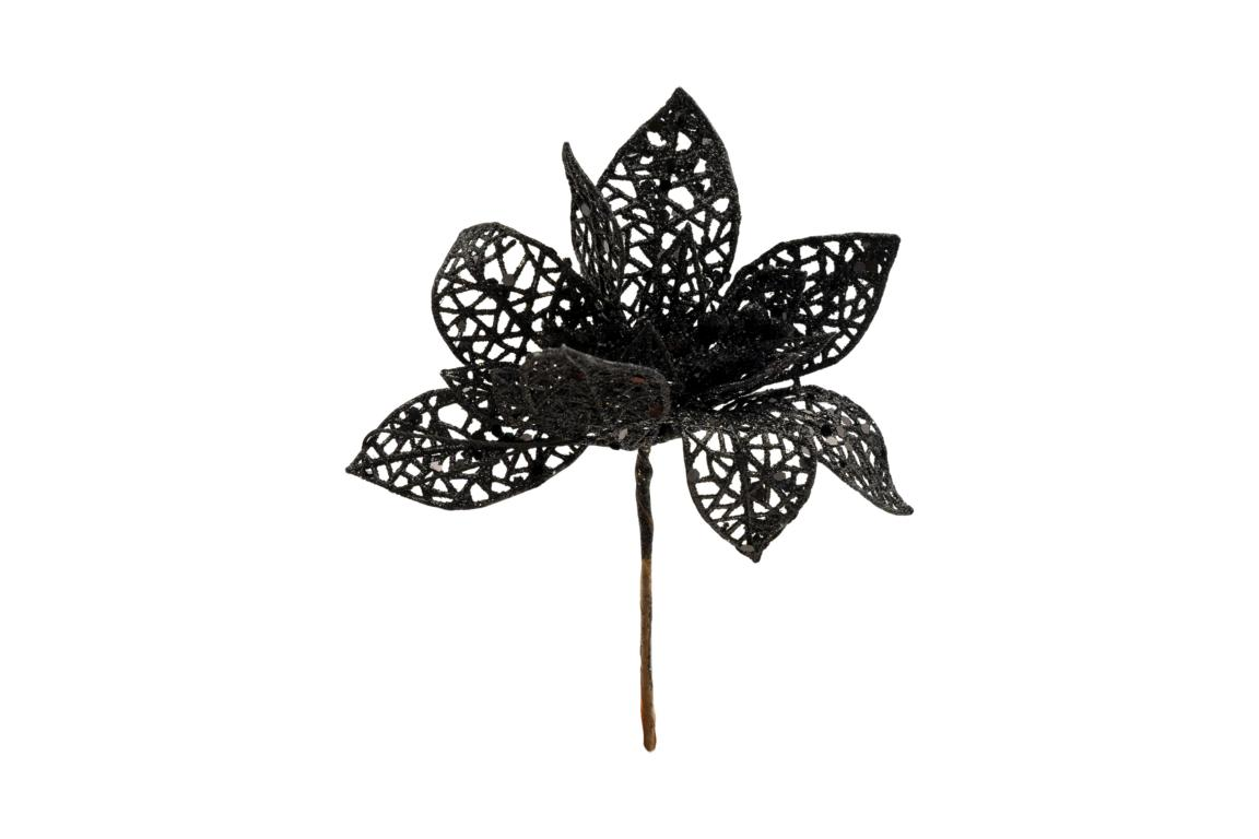 Colmore Dekoblüte, schwarz Glitzer, D 14cm