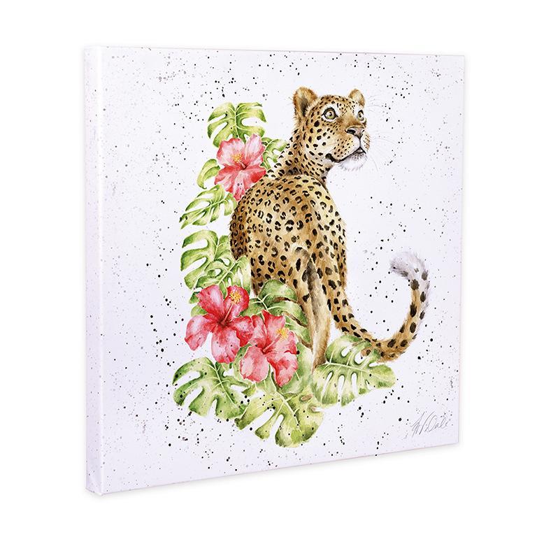 "Wrendale Leinwand groß, Aufdruck Leopard, "" Hope your Birthday is Spot ont"", 80x80 cm"