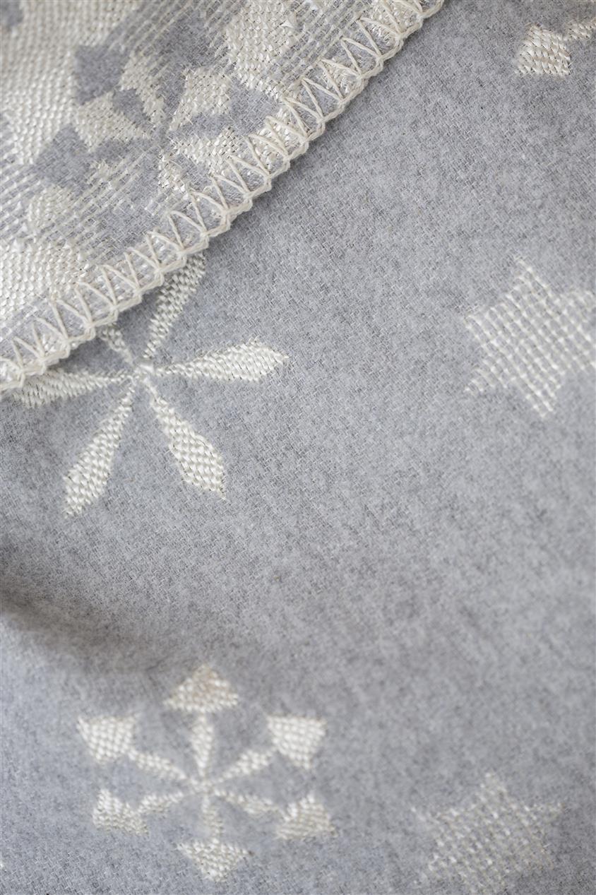 DAVID FUSSENEGGER Decke DIVA, grau/weiß, filz, mit Schneeflocken, 140 x 220 cm