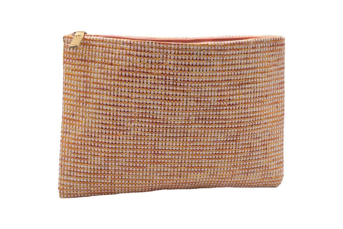 Kosmetiktasche, Weboptik, Orange mit Gold, Reißverschluss, 28x20 cm