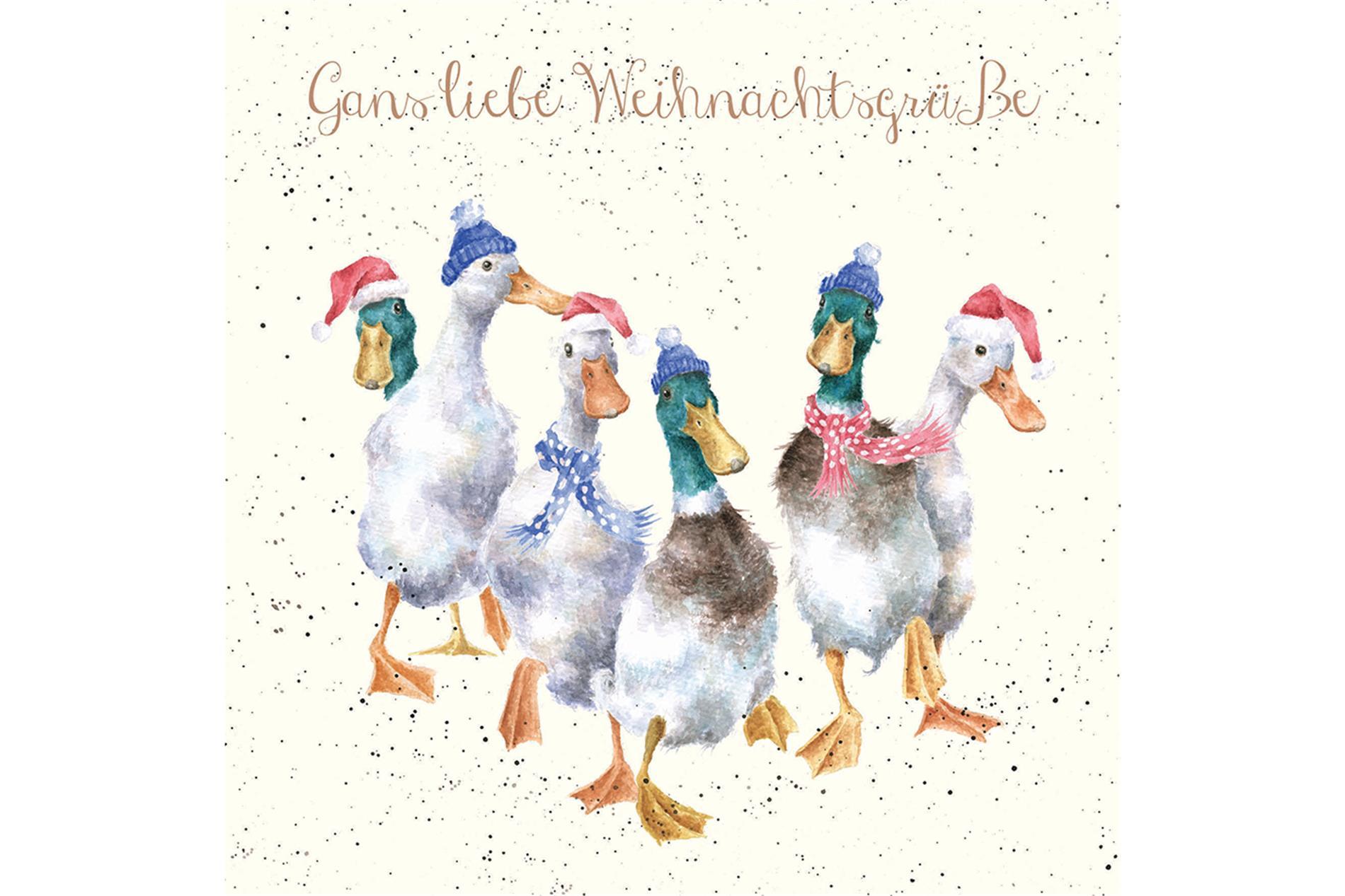 Wrendale Doppelkarte Weihnachten mit Umschlag, Gans liebe Weihnachtsgrüße, Motiv Gänse & Enten15x15 cm