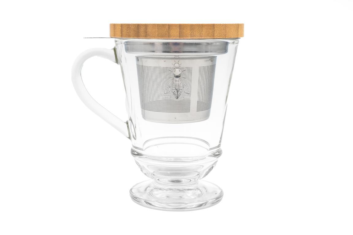 Teebecher/Teeglas mit Sieb und Holzdeckel, aus Glas mit Biene, Holzdeckel aus Bambus, 27,5cl