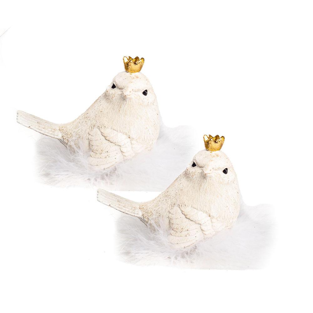 Kleiner Vogel mit Krone,sitzt im Federnest verschieden sortiert , nach vorne oder zur Site schauend,  9x4,5x7 cm