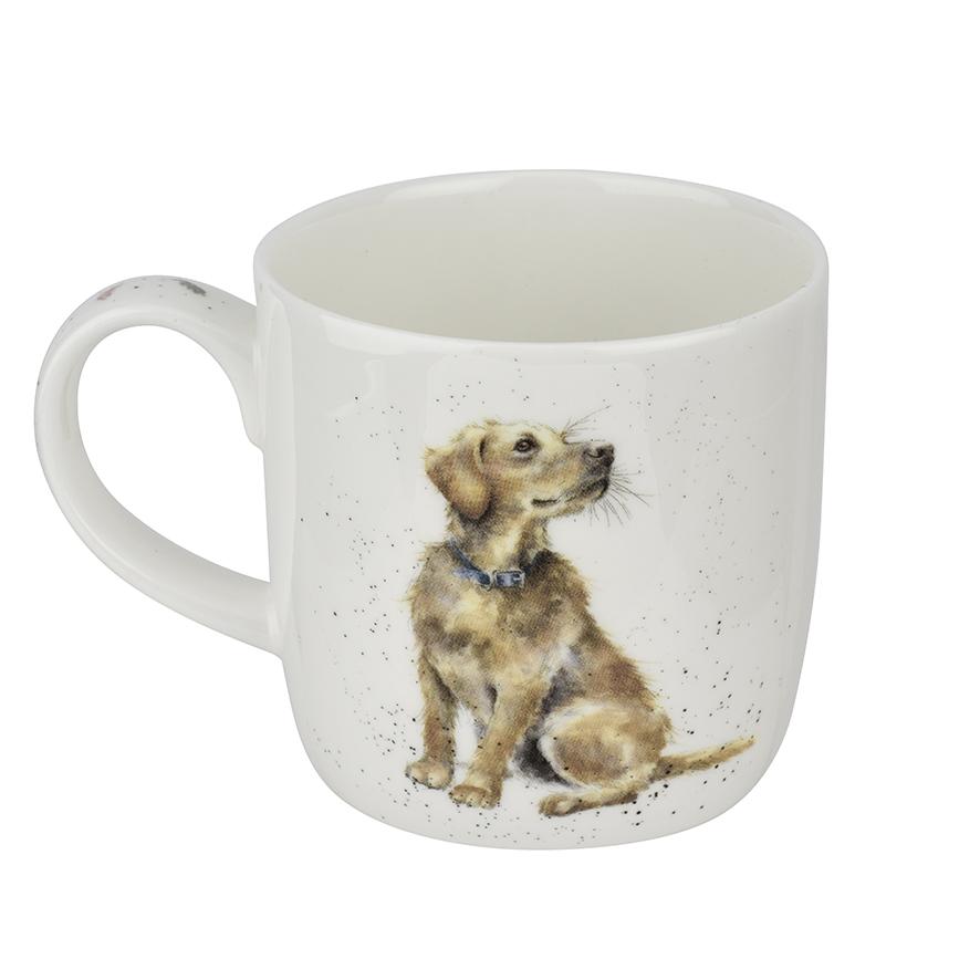 """Wrendale Becher,  """"Devotion"""", Motiv vorne Hund mit Welpen, hinten Hund, 0,31 L, mit Geschenkverpackung"""