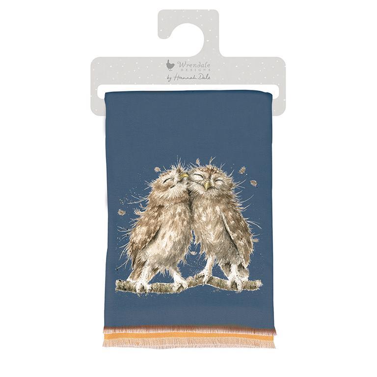 "Wrendale Winterschal, dunkelblau, Motiv Eulenpaar ""Birds of a Feather"" , inkl Geschenktüte 190x70 cm"