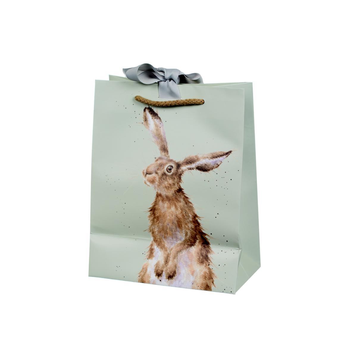 Wrendale Geschenktüte medium, Motiv Hase/Eule, mint,  22,5x18 cm