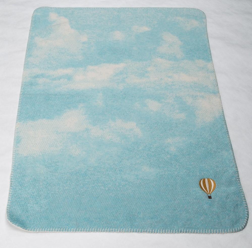 DAVID FUSSENEGGER Decke Babydecke Wolken mit Ballon jade 75x100 cm