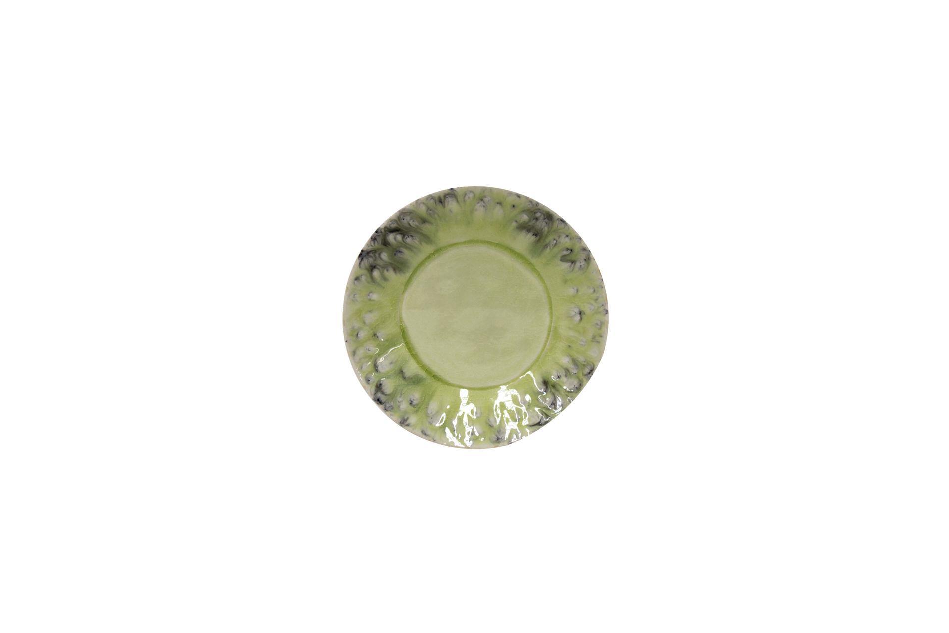 Brotteller, Madeira, grün, 16 cm