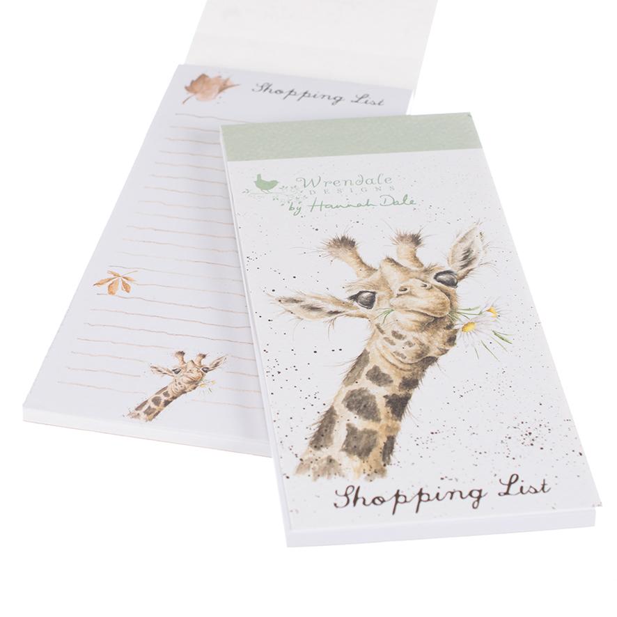 Wrendale Einkaufsblock mit Magnetstreifen, Motiv Giraffe, 21x10 cm