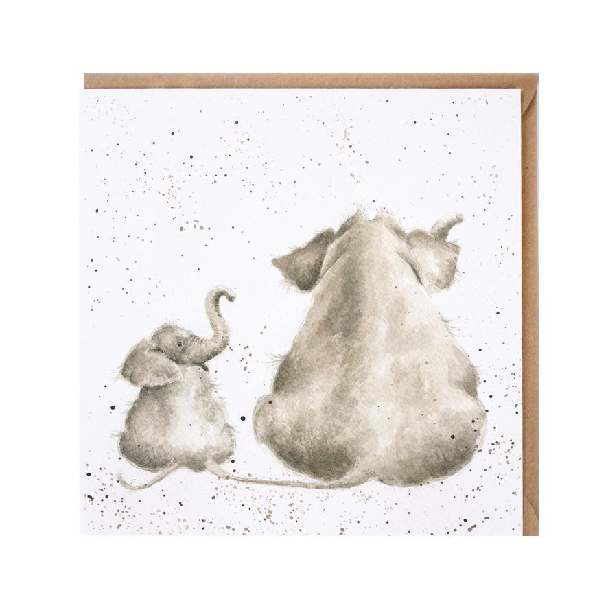 Wrendale Doppelkarte mit Umschlag, Motiv Elefant mit Kind, Quadratisch, 15x15 cm