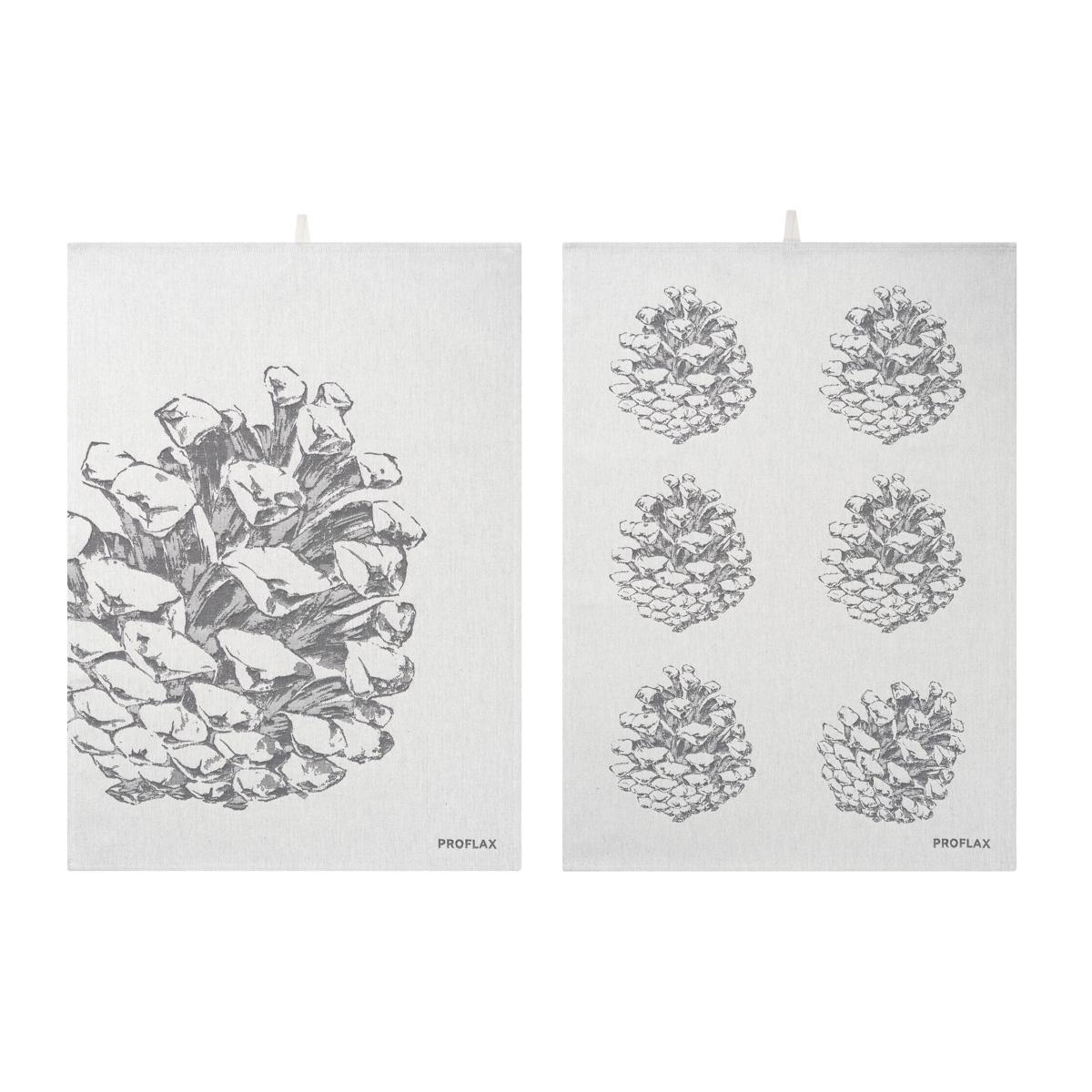PROFLAX Geschirrtuch 2er Set, Motiv Tannenzapfen in Reihe und Tannzapfen groß, grau 50 x 70