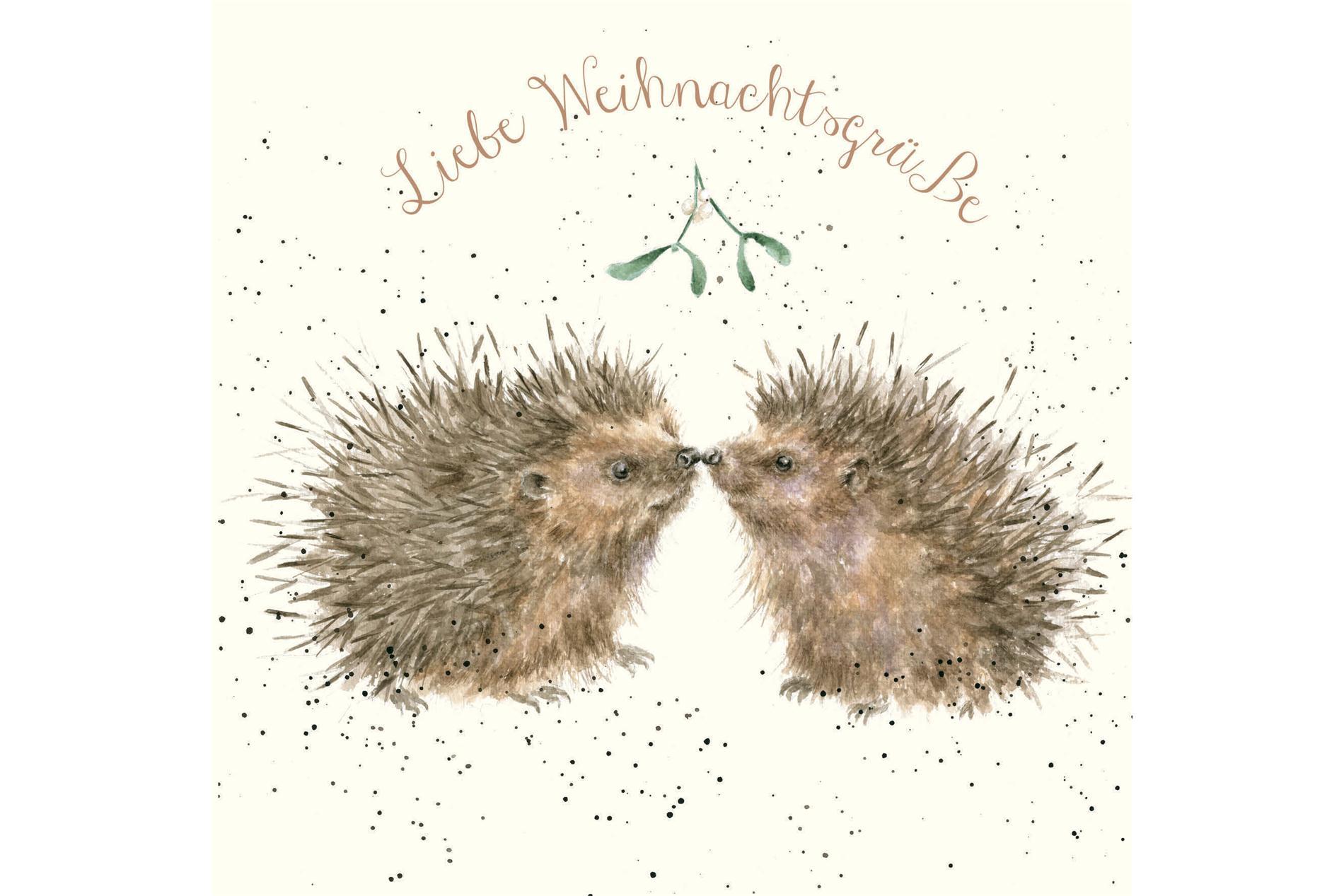 Wrendale Doppelkarte Weihnachten mit Umschlag, Liebe Weihnachtsgrüße, Motiv Igel & Mistelzweig,15x15 cm