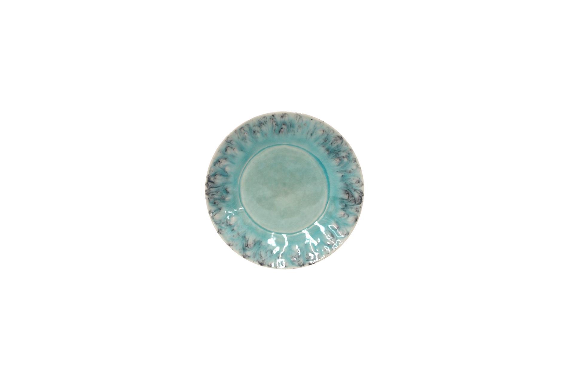 Brotteller, Madeira, blau, 16 cm