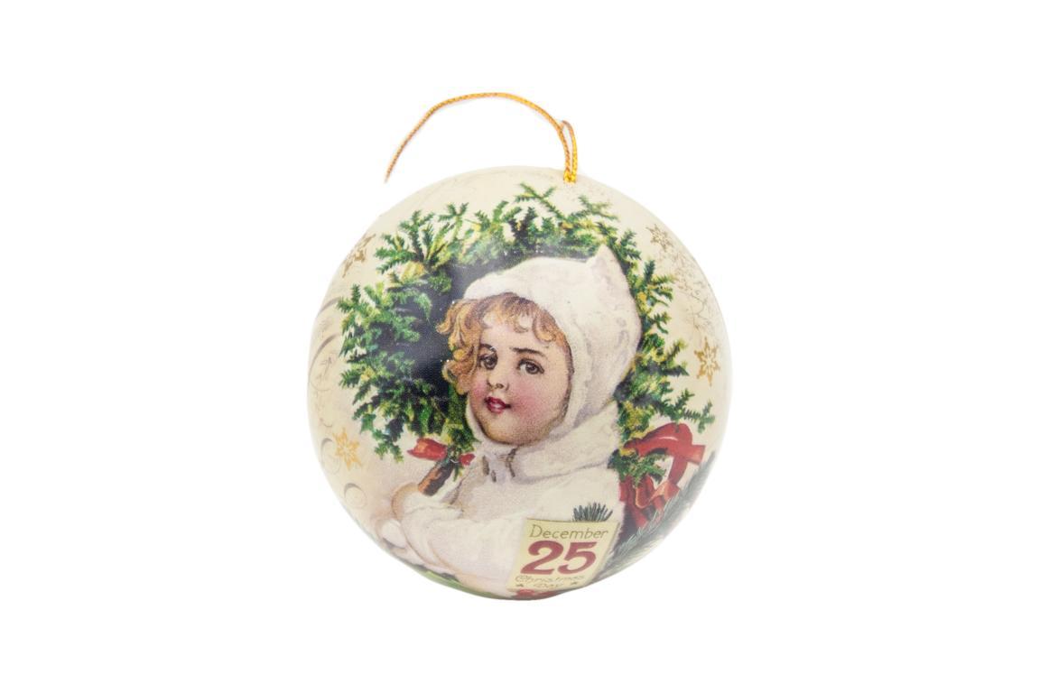 Blechkugel zum befüllen und aufhängen, beige, Motiv kleines Mädchen mit weißer Mütze/ Winterlandschaft, D 7 cm