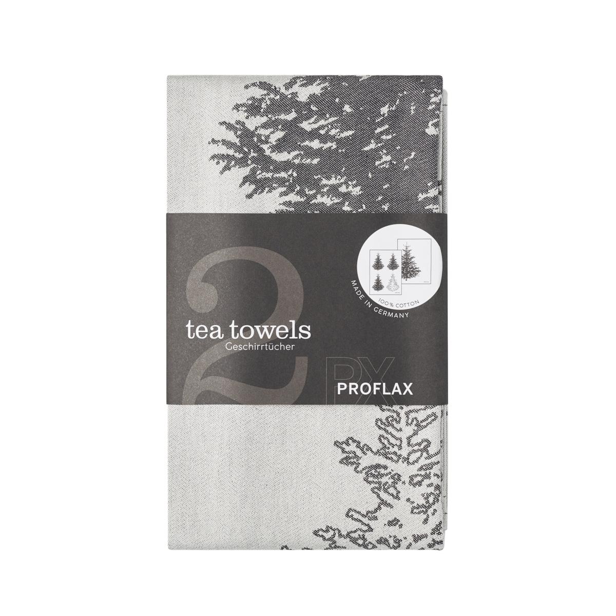 PROFLAX Geschirrtuch 2er Set, Motiv Tannenbaum in Reihe und Tannenbaum groß, grau, 50 x 70