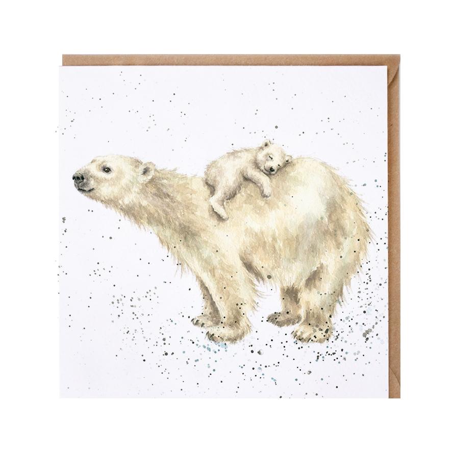Wrendale Doppelkarte mit Umschlag, Eisbär trägt Baby auf dem Rücken, Quadratisch, 15x15 cm