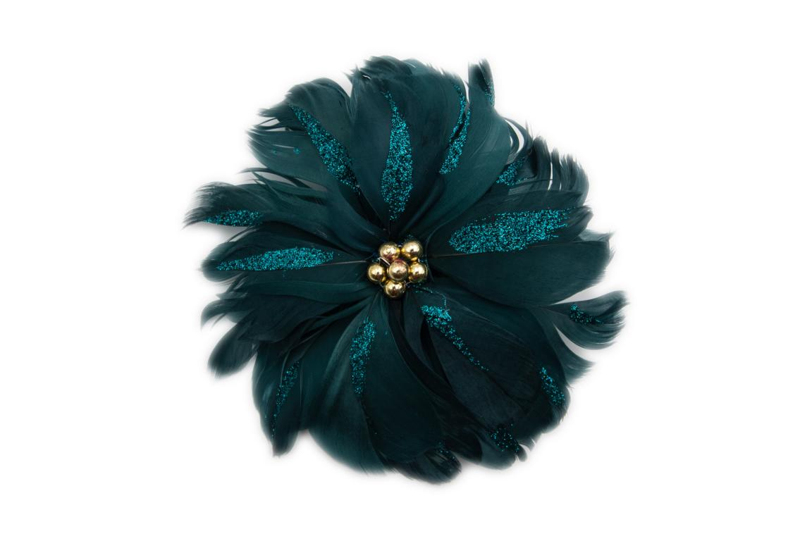 Colmore dekorative Blume, aus Federn in mitternachtsblau, mit Clip zum befestigen, 18cm