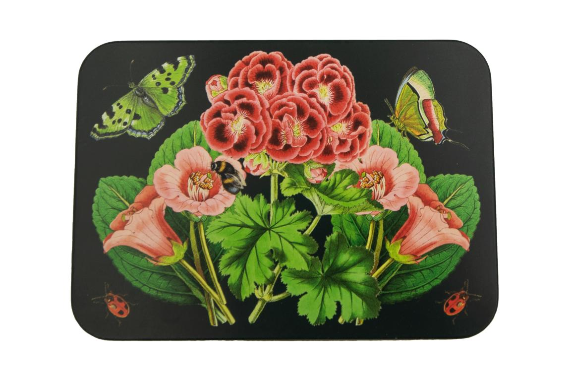 MADAME TREACLE Blechdose, dunkelgrün mit floralem Muster, 14,5x10,5x3,5 cm
