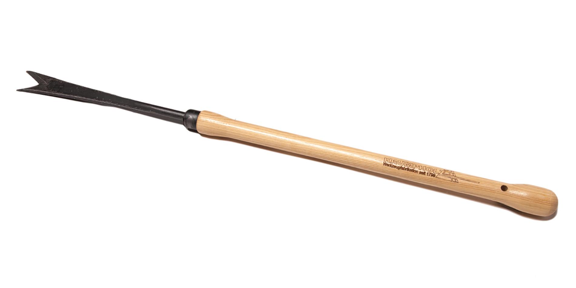 Krumpholz Unkrautstecher geschmiedet, 10mm, mit Eschen-Knopf-Stiel (48 cm)