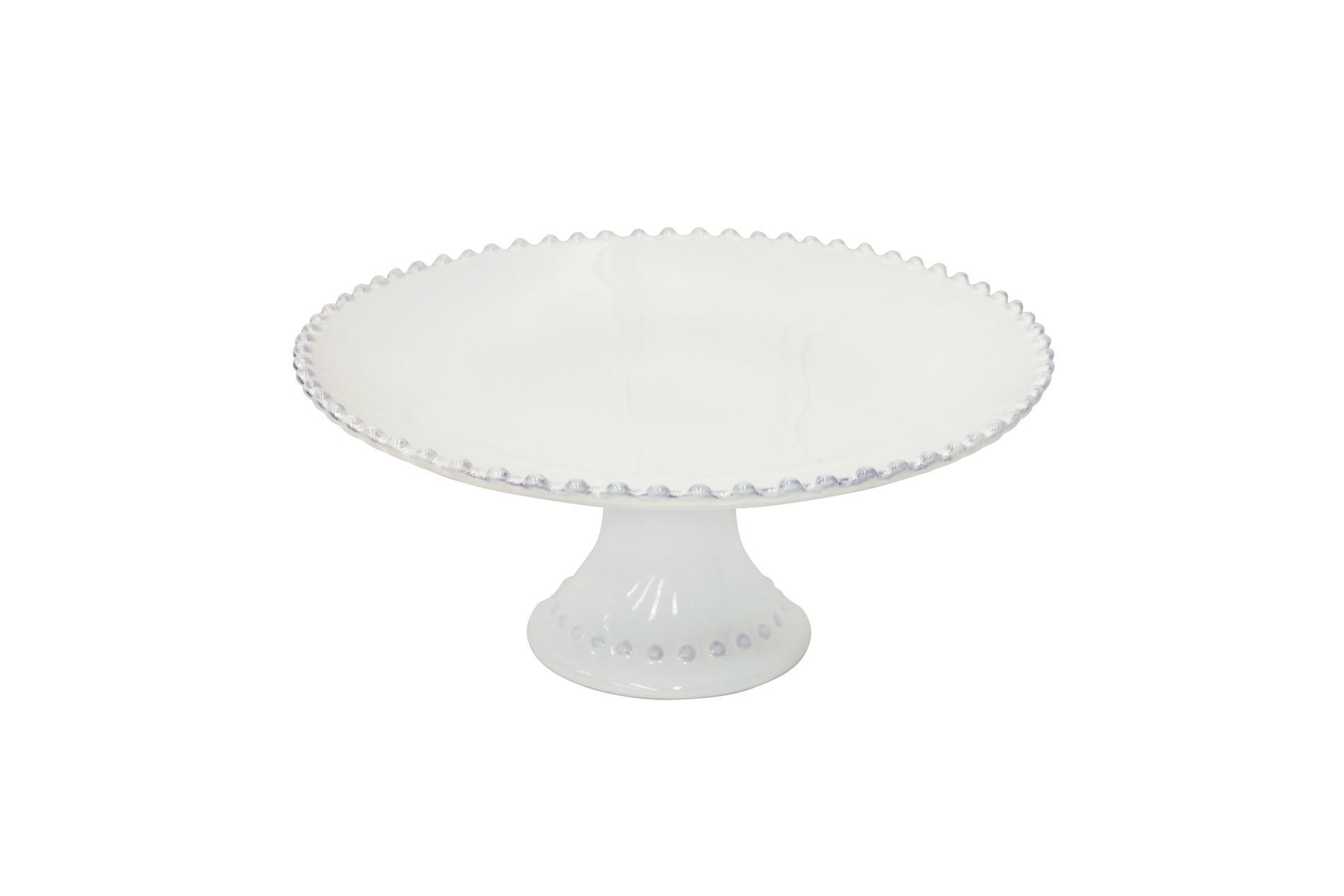 Tortenplatte mit Fuß, Pearl, weiß, 28cm