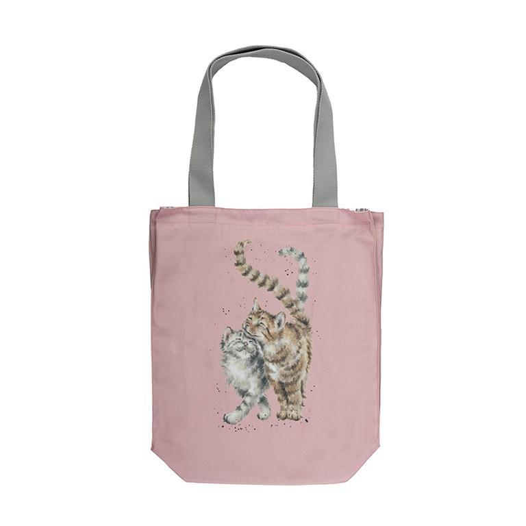 """Wrendale Canvas Tragetasche, Motiv Katzenpaar """"Feline Good"""", aus Segeltuch mit Futter aus 100% Baumwolle, rosa, 42x40x10cm"""