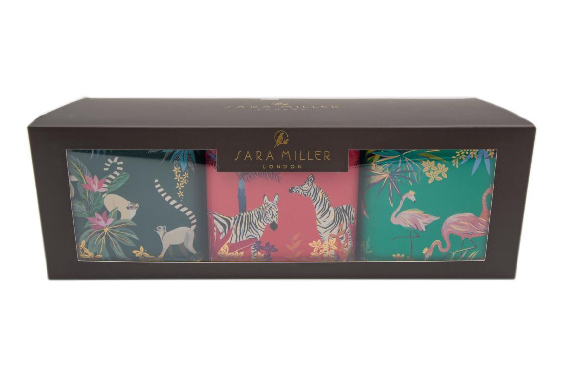 SARA MILLER Vorratsdosen 3er Set sortiert Lemuren/Zebras/Falmingos, 11 cm x 10 x 10 cm