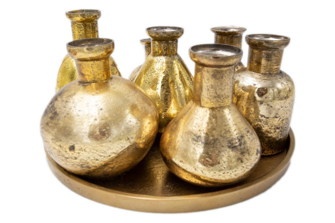 COLMORE Dekotablett mit 7 Vasen, Bronze/Goldoptik, 31x31x16