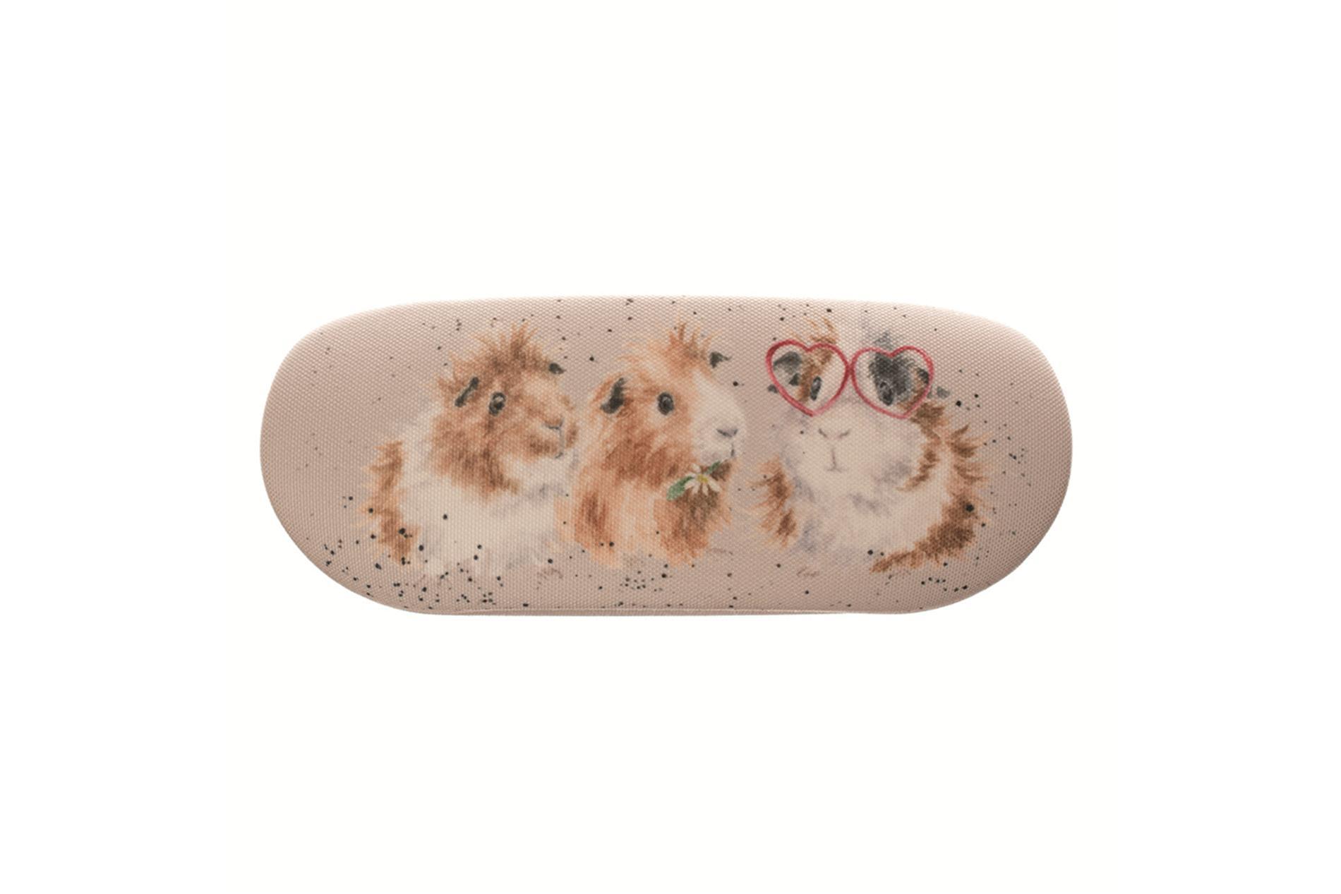 Wrendale Brillenetui inkl. Putztuch, Motiv Meerschweinchen, 16x6x3,5 cm