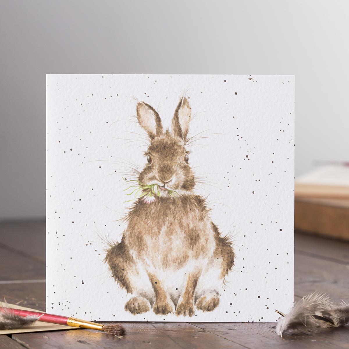 Wrendale Doppelkarte mit Umschlag, Motiv Hase isst Gras, Quadratisch, 15x15 cm