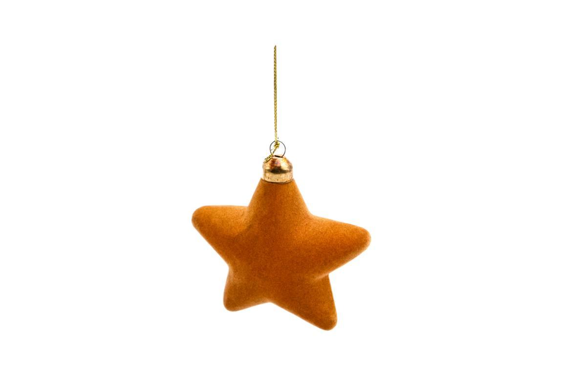 Colmore Christbaumanhänger Sternenform, aus Glas gold mit Samtüberzug, 10x4cm