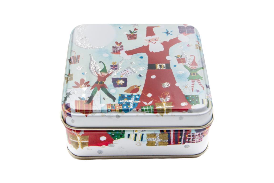 Lucy Loveheart kleine Blechdose, Motiv Weihnachtsmann und Weihnachtswichtel, mit Glitzerverzierung, 9x9x3,5 cm
