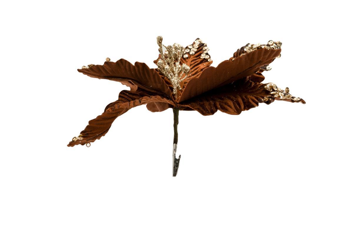 Colmore Blüte mit goldenen Pailletten, mit Klammer, künstlich, braun,  D ca.29cm, H 19cm