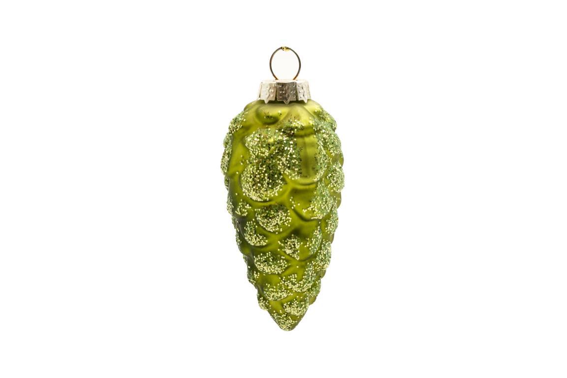 Colmore Christbaumanhänger Tannenzapfen, Glas, grün mit Glitzer, 4x9cm