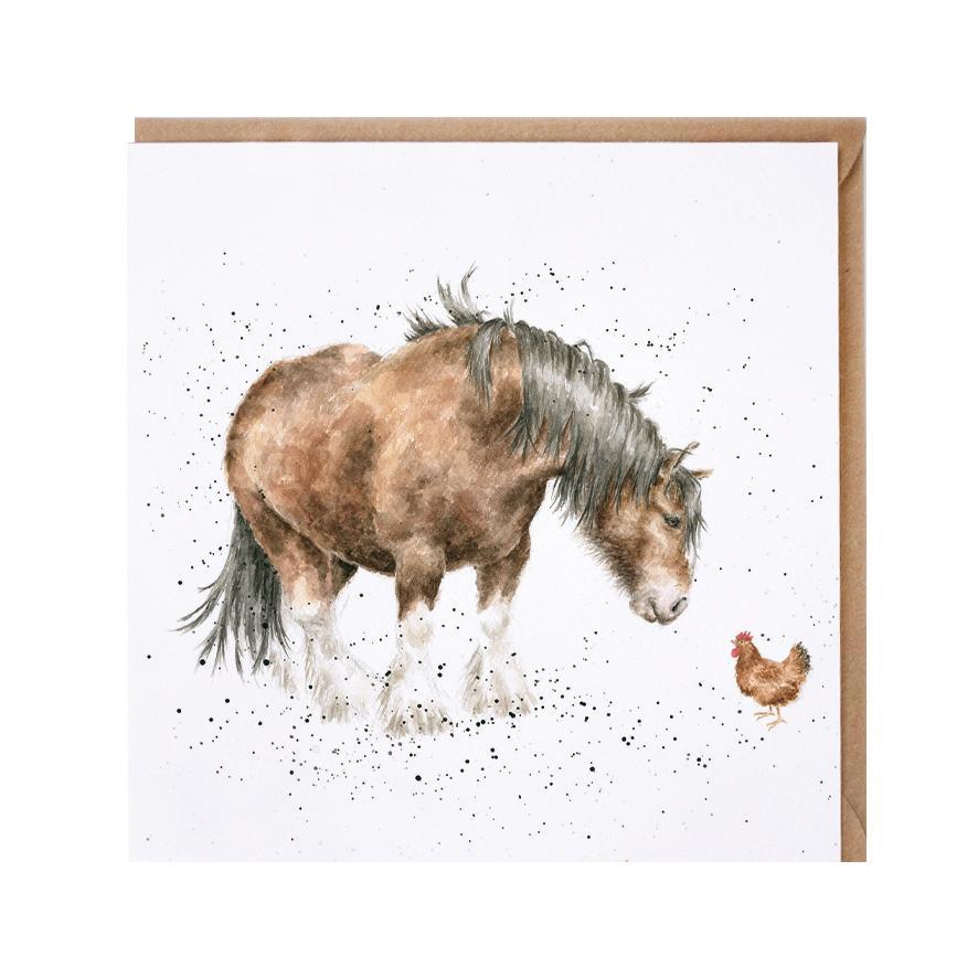Wrendale Doppelkarte mit Umschlag, Motiv Pony & Huhn, Quadratisch, 15x15 cm