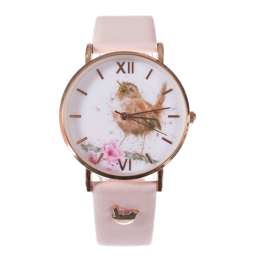 Wrendale Armbanduhr mit rosa Lederarmband, Motiv singendem Vogel, in Geschenkkarton