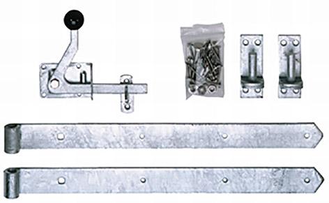 Beschlagset verzinkt, silberverzinkt,  für genagelte Tore & Premium Tore - Bänder, Kloben, Verriegelung, Schrauben