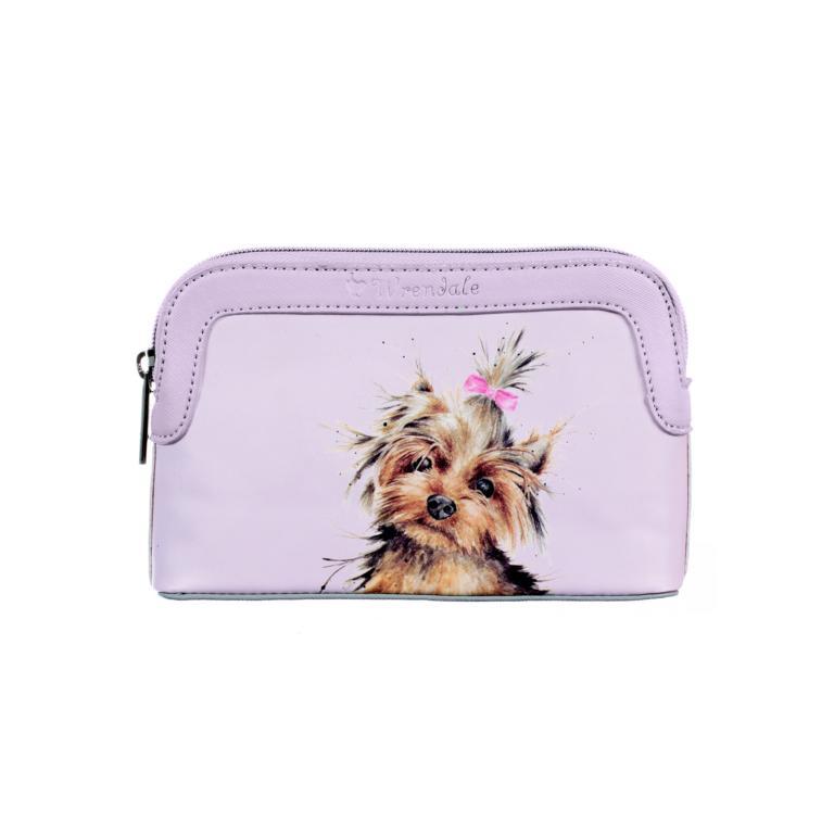 Wrendale kleine Kulturtasche mit Reißverschluss, Motiv Yorkshire Terrier, beige, 20x13x5 cm