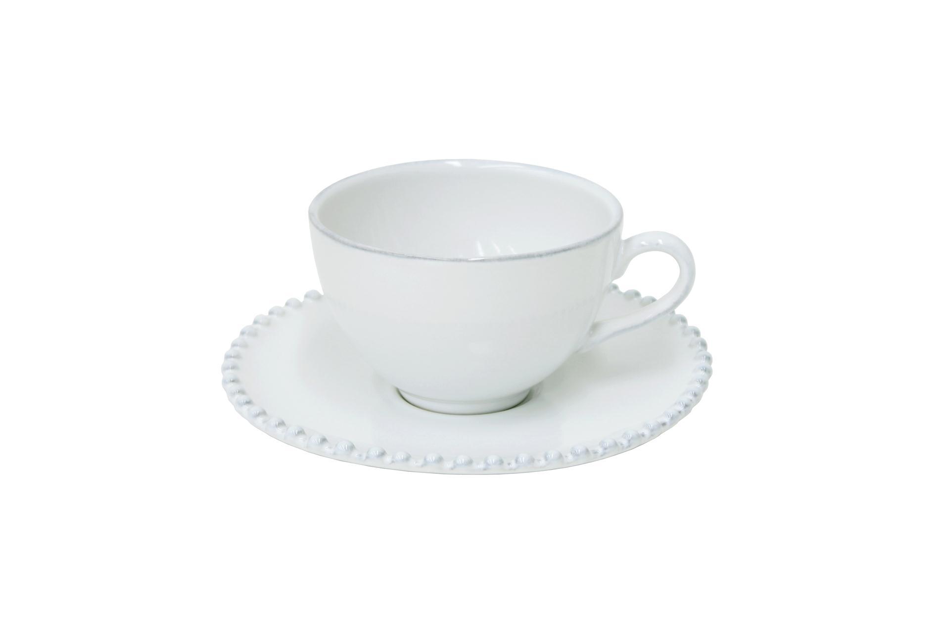 Gedeck Kaffee /Tee und Untertasse Pearl weiß, 0,25 l