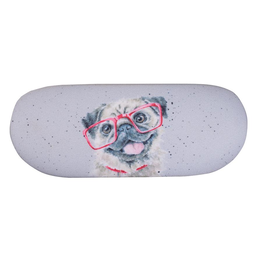 Wrendale Brillenetui inkl. Putztuch, Motiv Mops mit Brille, 16x6x3,5 cm