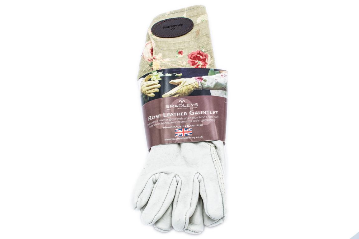 BRADLEYS Gartenhandschuhe lang, Leinen Rose grün, Gr. S (Hand Leder beige)