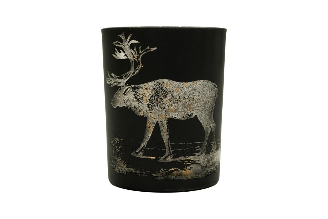 Colmore Teelichtglas mittel, Motiv Hirsch, schwarz/gold, 10x13cm