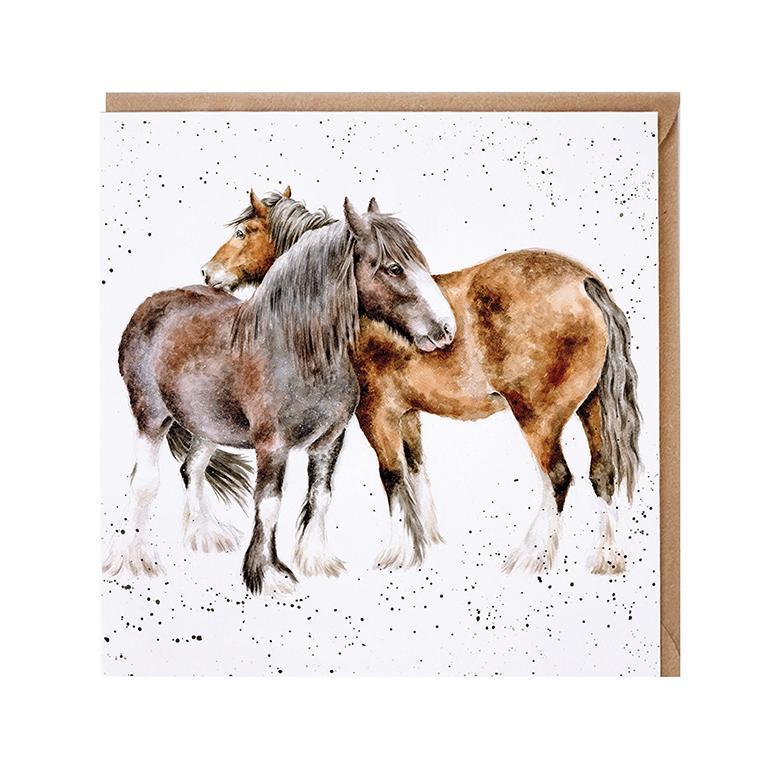 "Wrendale Doppelkarte mit Umschlag, Motiv zwei Ponys ""Side bye Side"", 15x15cm"